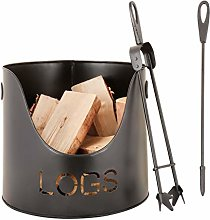 Modern Metal Fireside Kindling Log Bucket with
