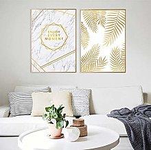 Modern Minimalist Art Gold Leaf and Alphanumeric