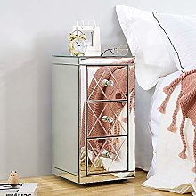 Modern Mirrored Glass Bedside Cabinet Unit with 3