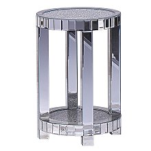 Modern Mirrored Side Table Round Crushed Diamond