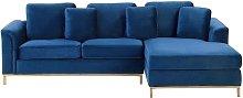 Modern Navy Blue Velvet Couch Corner Sofa Gold