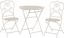 Modern Outdoor Garden Bistro Set Metal Beige