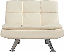 Modern Padded Faux Leather Sofa Sleeper Couch