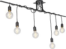 Modern Pendant Lamp Black 6 with Suspension Cables