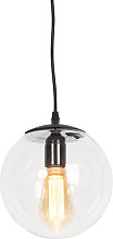 Modern Pendant Lamp Black with 20cm Clear Shade -