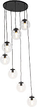 Modern Pendant Lamp Black with 7 Clear Shades -