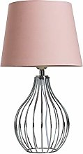 Modern Polished Chrome Wire Basket Table Lamp with