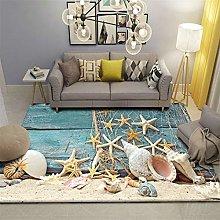 Modern Printed Flannel Area Rug 3D Beach Shells