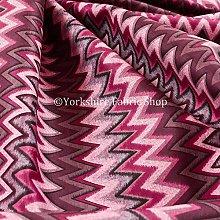 Modern Printed Velvet Chevron Striped Pattern Pink