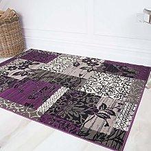 Modern Purple Grey Patchwork Living Room Rug Non
