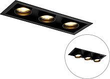 Modern recessed spot black adjustable 3-light -