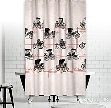 Modern Retro Extra Long Fabric Shower Curtain With