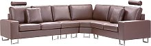 Modern Reversible Sectional Sofa Brown Leather