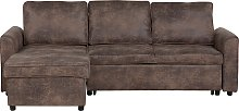 Modern Right Hand Faux Leather Corner Sofa Bed