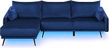 Modern Right Hand Velvet Corner Sofa 3 Seater