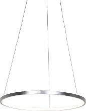 Modern ring hanging lamp silver 60 cm incl. LED -