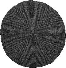Modern Round Area Rug Dark Grey Wool Felt Ball