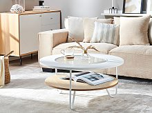 Modern Round Coffee Table White Top with Glass Hairpin Legs MDF Light Wood Shelf
