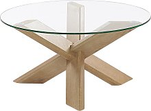 Modern Round Living Room Coffee Table Wood Effect Base Glass Top Valley