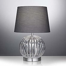 Modern Round Table Lamp with Acrylic Base and Grey