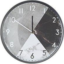 Modern Round Wall Clock Black White Hands Grey