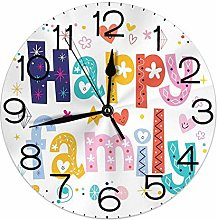 Modern Round Wall Clock,Happy Family Letters With