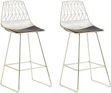 Modern Set of 2 Metal Bar Chairs Counter Height