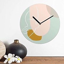 Modern Shapes Line MDF Wall Clock 30cm Analog Face