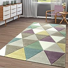 Modern Short Pile Rug Triangles Beige Pastel