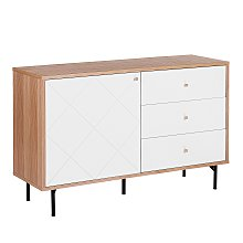 Modern Sideboard TV Stand Cabinet Light Wood White
