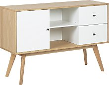 Modern Sideboard TV Stand Light Wood White Cabinet