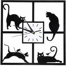 Modern Silent Wall Clock, Funny Cat Ornament Gifts
