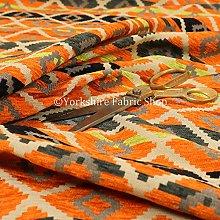 Modern Small Kilim Aztec Pattern Orange Chenille