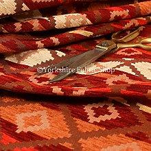 Modern Small Kilim Aztec Pattern Orange Red