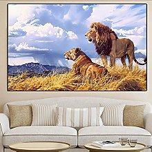 Modern Steppe Animal Two Lions Print Canvas