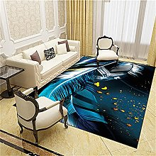 Modern Style Rug Abstract blue leaves Rugs Living