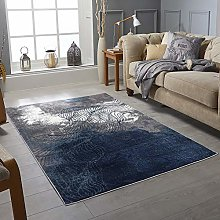 Modern Style Rug ABSTRACT Design Black Blue Brown