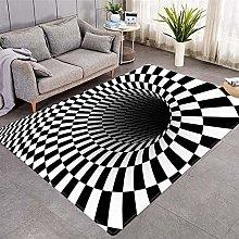 Modern Style Rug Black and white geometric vortex