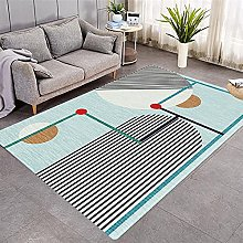 Modern Style Rug Blue and black white stripes Rugs