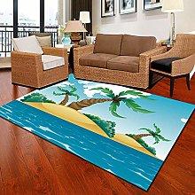 Modern Style Rug Blue Coast Coconut Tree Rugs