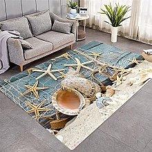Modern Style Rug Blue wood grain starfish Rugs