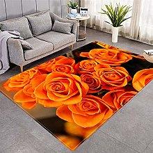 Modern Style Rug Orange rose Rugs Living Room