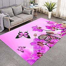 Modern Style Rug Purple orchids and butterflies