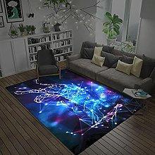 Modern Style Rug Soft Short Pile Carpets Blue leo