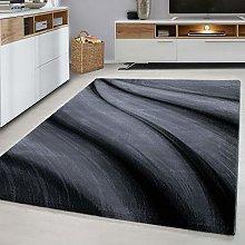 Modern Style Rug WAVES Design Black Grey Charcoal
