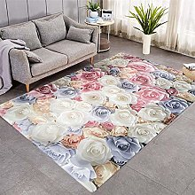 Modern Style Rug White and pink roses Rugs Living