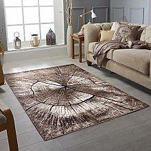 Modern Style Rug WOOD Design Brown Grey Rugs