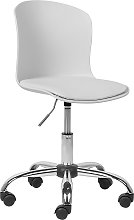 Modern Swivel White Desk Chair Faux Leather Seat
