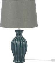 Modern Table Lamp Bedside Light Fabric Grey Shade