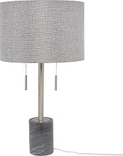 Modern Table Lamp Drum Fabric Shade On-Off Switch